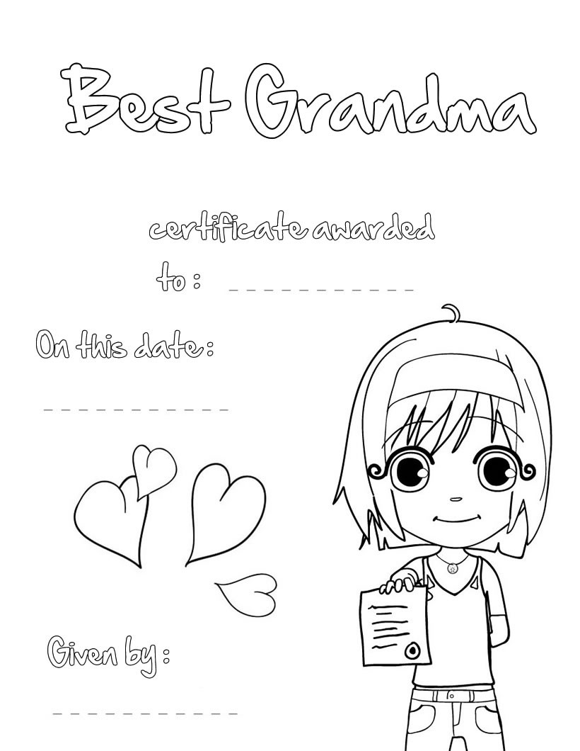 Best grandma certificate grandparents day coloring pages