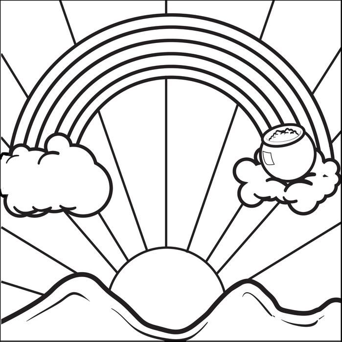 Rainbow with pot of gold coloring pages coloring home for Coloring page rainbow