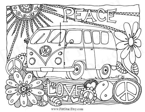 volkswagen bus coloring pages - photo#17