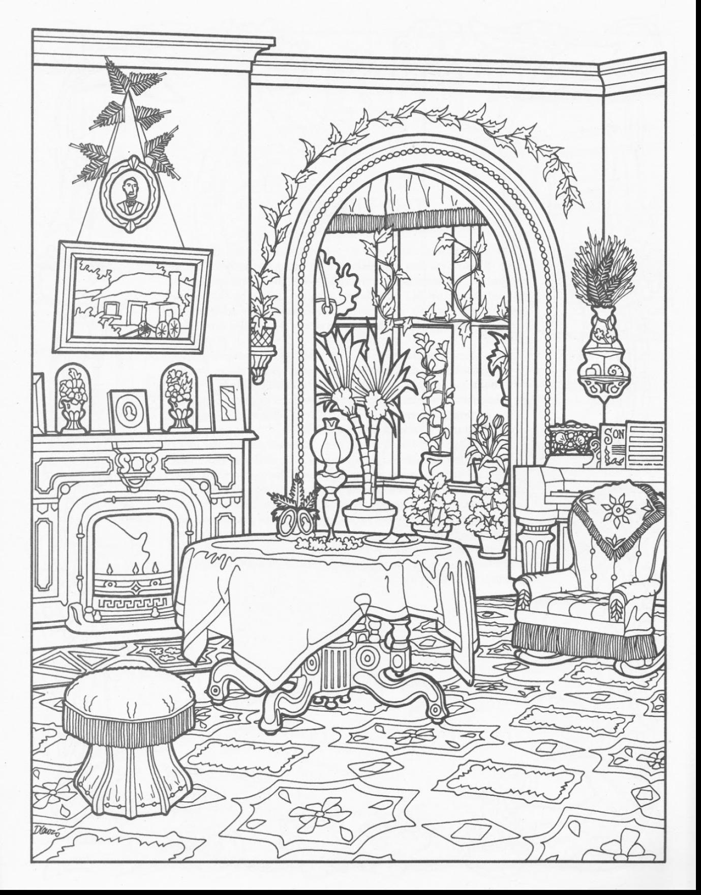 Wonderful interior house coloring pages with house coloring page ...