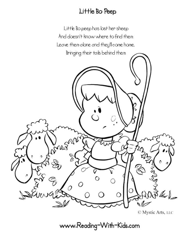 Wee Willie Winkie Coloring Page bo Peep Coloring Pages For