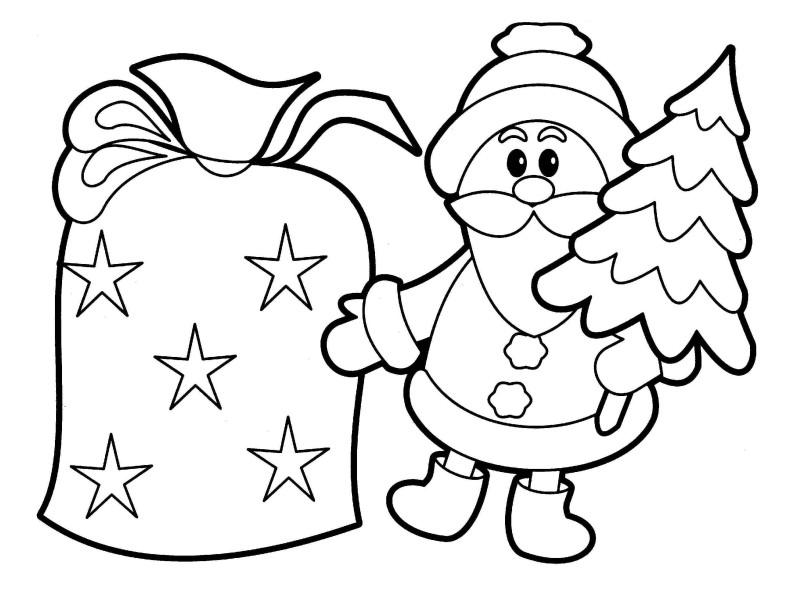 Santa Claus Drawing Az Coloring Pages Santa Claus With Tree Coloring Pages