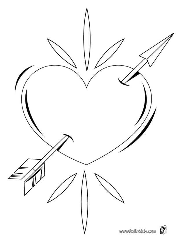Latest Heart With Arrow Coloring Page Source Smy Concept