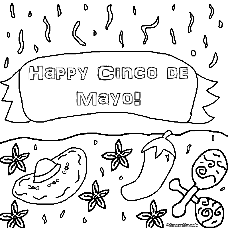 Cinco de mayo printable coloring pages for Cinco de mayo coloring pages