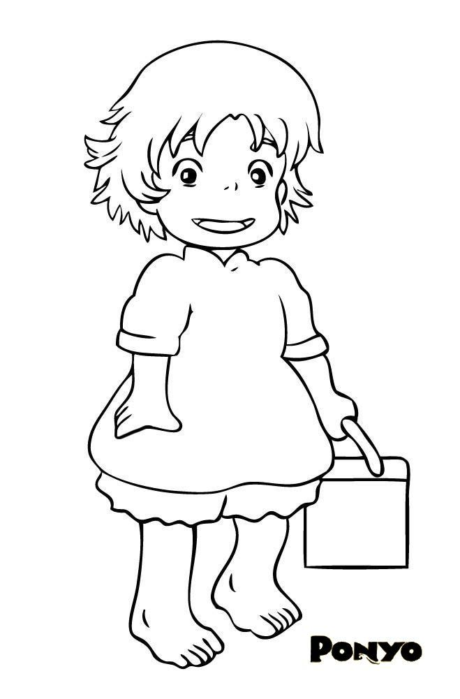 color by ponyo Colouring Pages