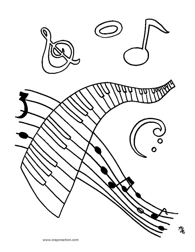 coloring pages of music notes