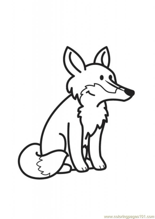 Coloring Pages Zorro Fox Siting Mammals