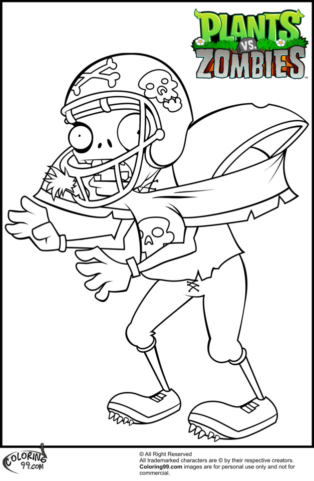 Free Plants Vs Zombies Football Zombie Coloring Pages | Laptopezine.