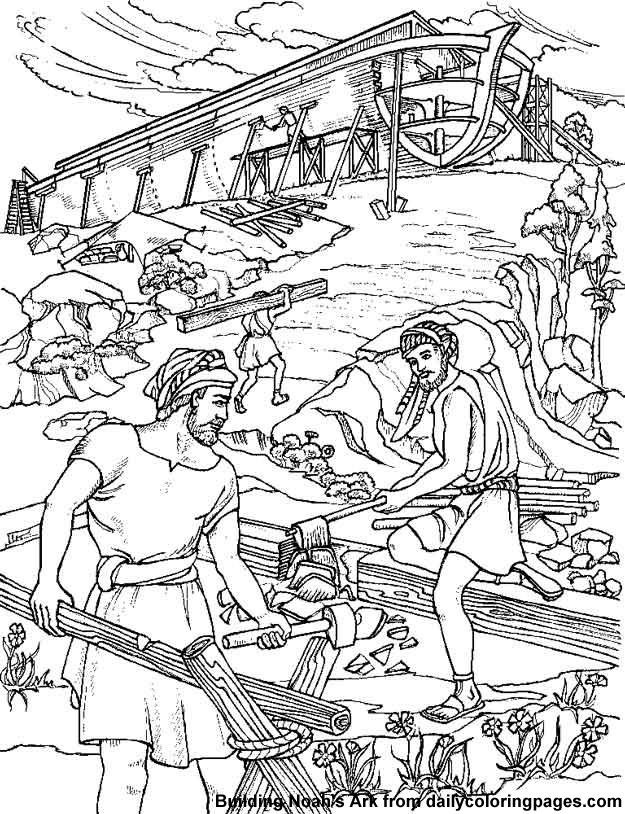 Construcción Del Arca De Noé Para Colorear Dibujos Cristianos