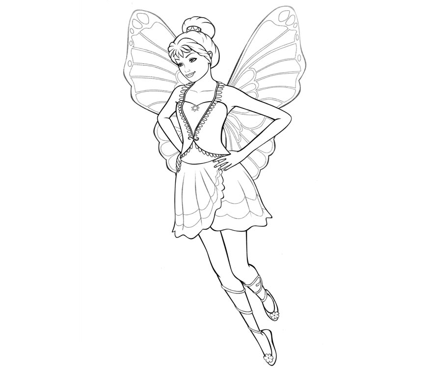 Colour Drawing Free Wallpaper Barbie Fairy For Kid Coloring