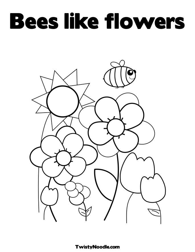 bee with flowers Colouring Pages (page 3)