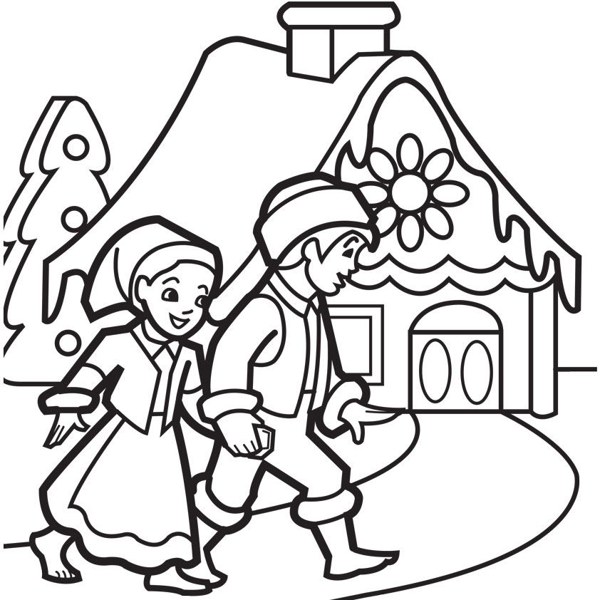 Gingerbread House Coloring Pages Coloring Kids Free