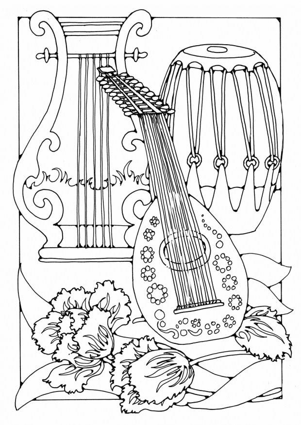 free music instrument coloring pages - photo#8