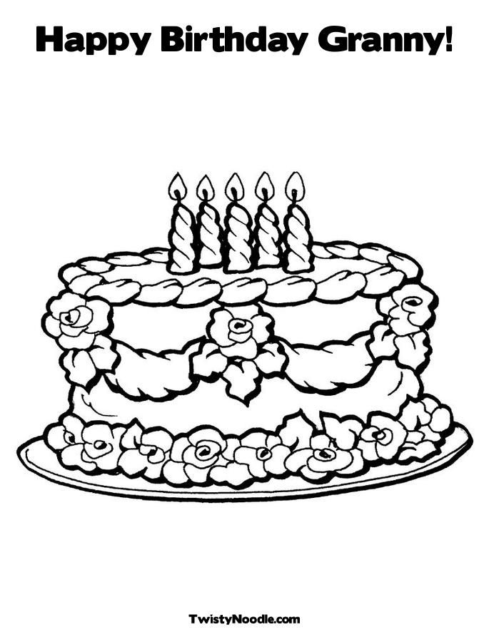 Pin Candleshappy Birthday Granny 7happy 7 Coloring Page Cake on