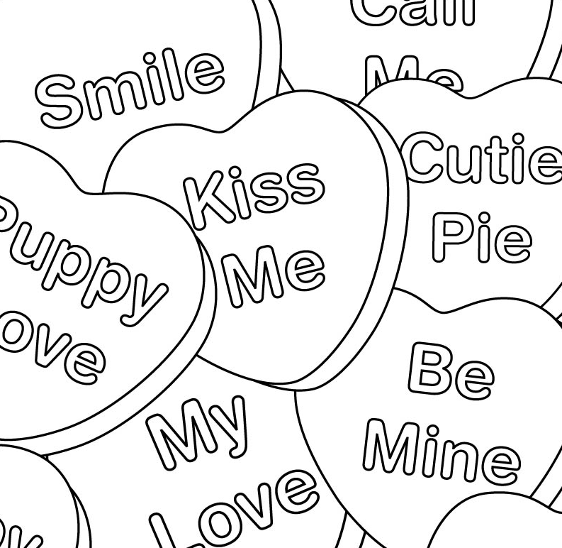 valentines day hearts coloring page book