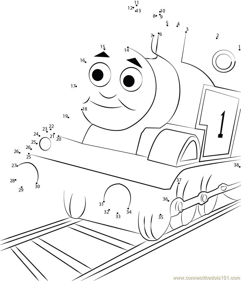 Connect the Dots Thomas Tank Engine (Cartoons > Thomas Friends
