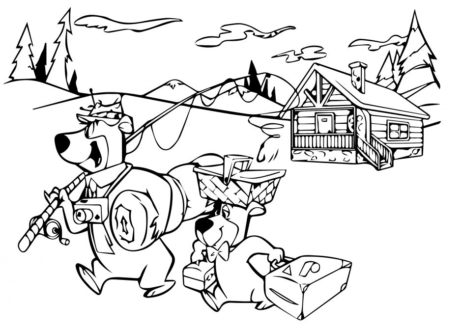 Yogi bear coloring pages az coloring pages for Bear in cave coloring page