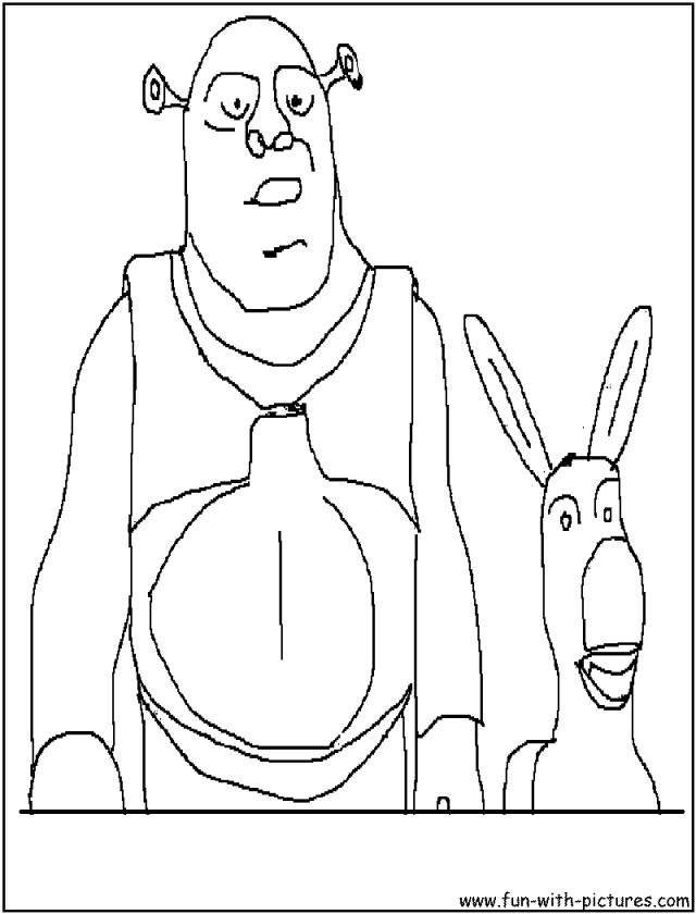 Shrek Donkey Coloring Pages 600x600px 244758 Shrek Color Pages ...