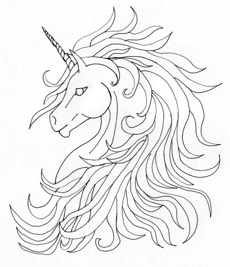 Unicorn Outline - Colo...