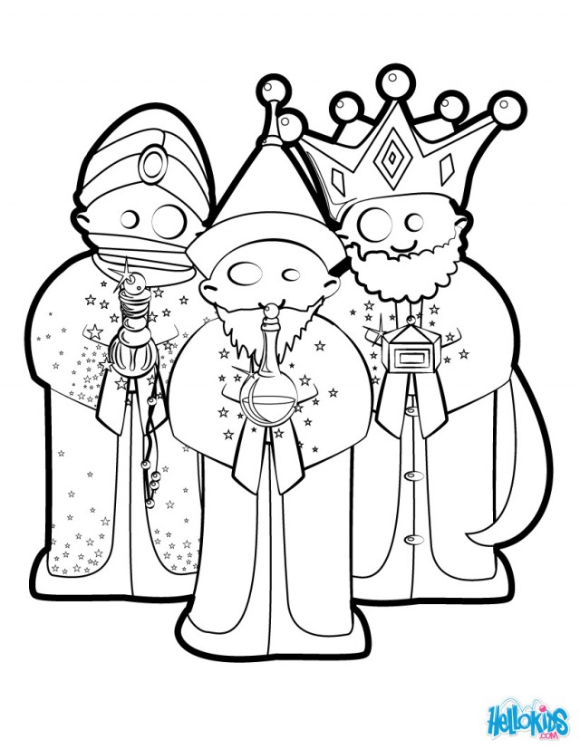 Three Wise Men Coloring Pages The Christmas Nativity Kings For