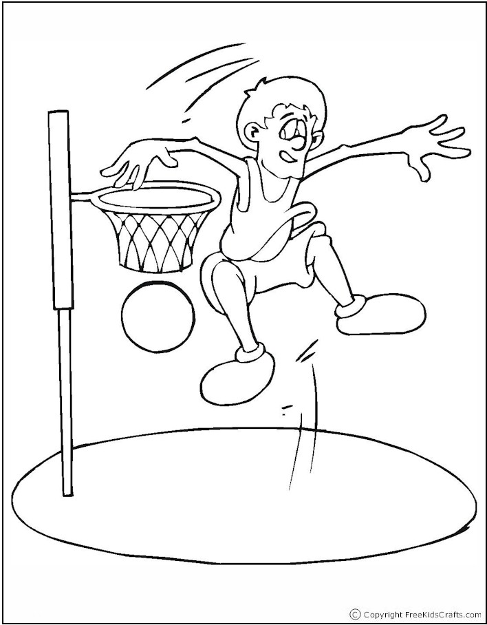 kid playing basketball coloring pages - photo#11