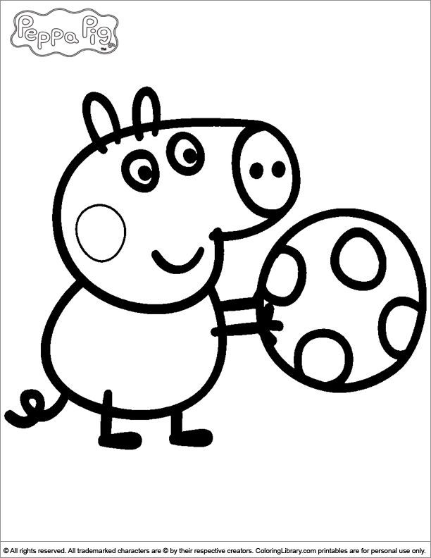 George playing with a ball - Peppa Pig coloring page