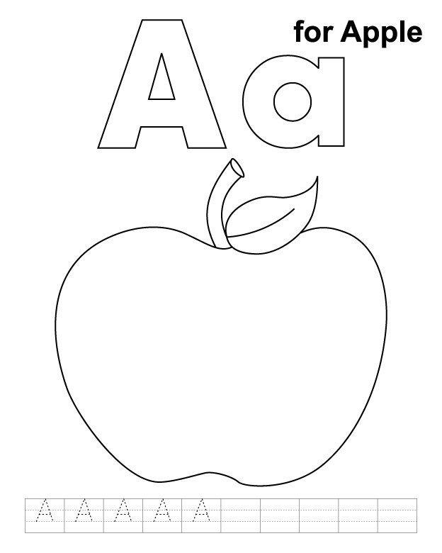 Apple Coloring Pages For Preschoolers Az Coloring Pages A Is For Apple Coloring Page