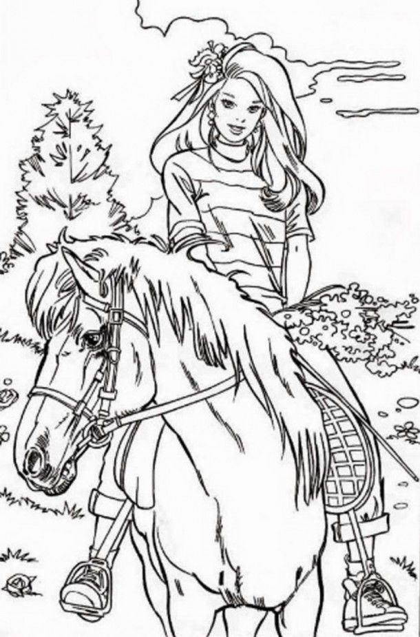 Barbie Horse Coloring Pages - Coloring Home