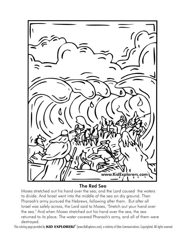 Crossing the red sea coloring page coloring home for Parting of the red sea coloring page
