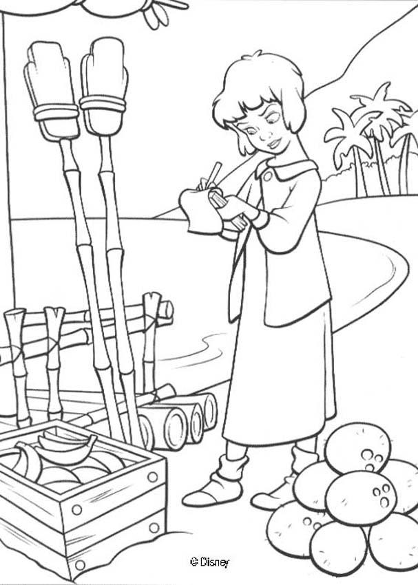 Peter Pan coloring pages - Wendy with fruits