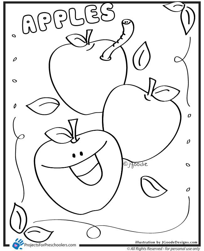 Free Coloring Pages Of An Apple : Apple coloring pages for preschoolers az