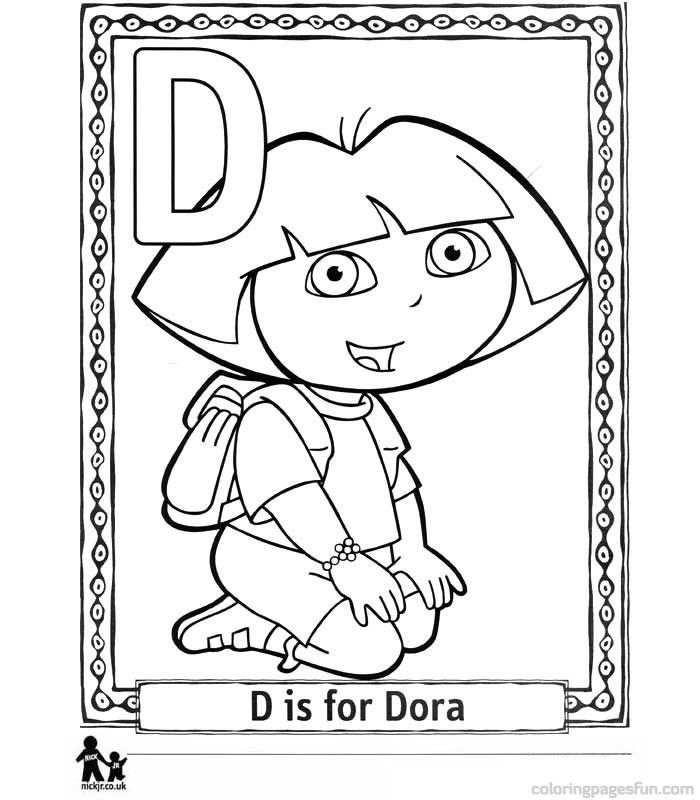 Dora the explorer alphabet free printable coloring pages for Princess dora coloring pages