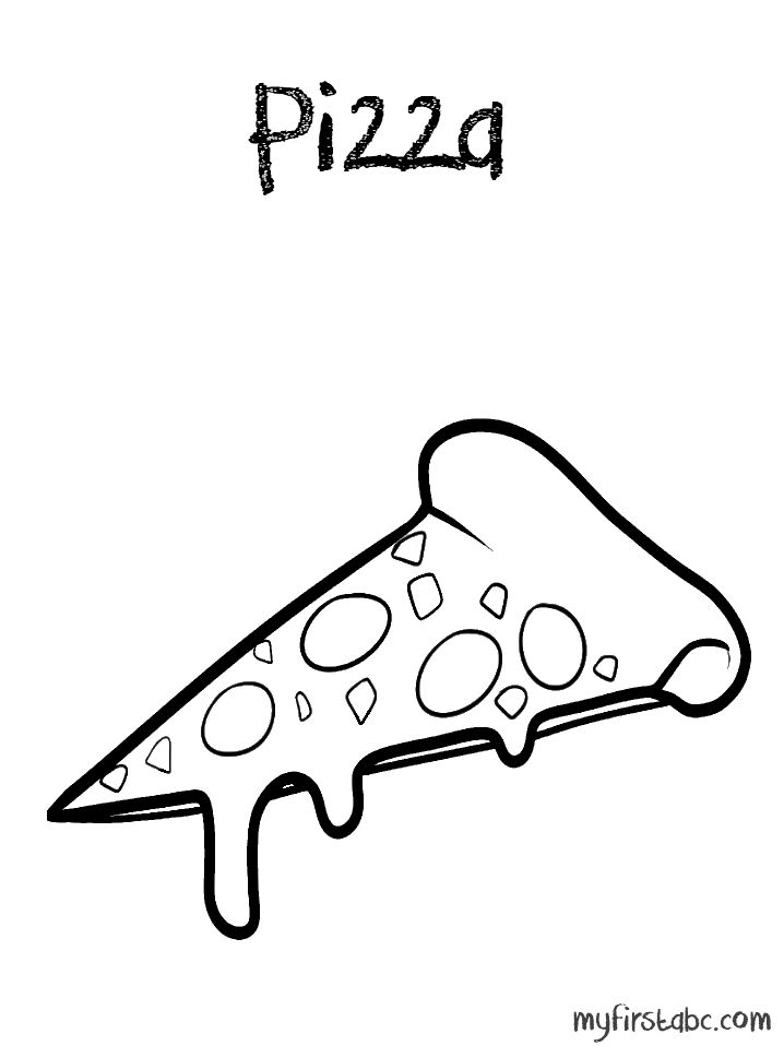 Pizza Coloring Page - My First ABC