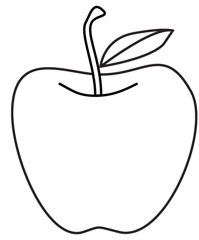 Line Art Of Apple : Apple stencil printable coloring home