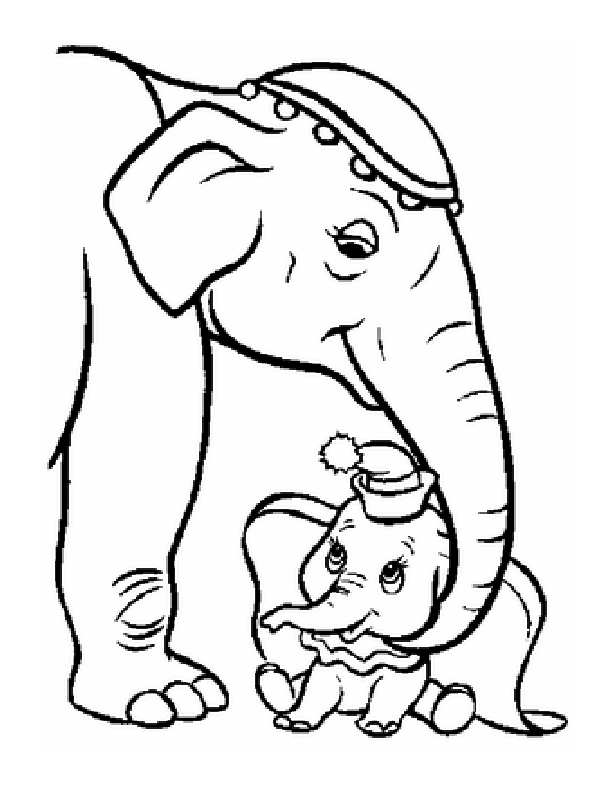 African Elephant Mother And Baby coloring page  Free