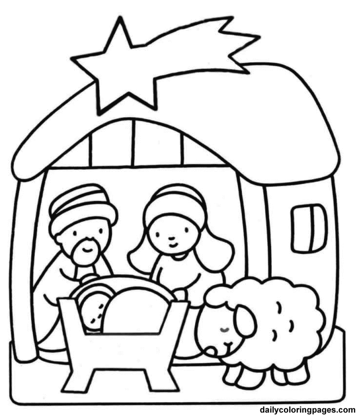 nativity scene coloring book pages - photo#7