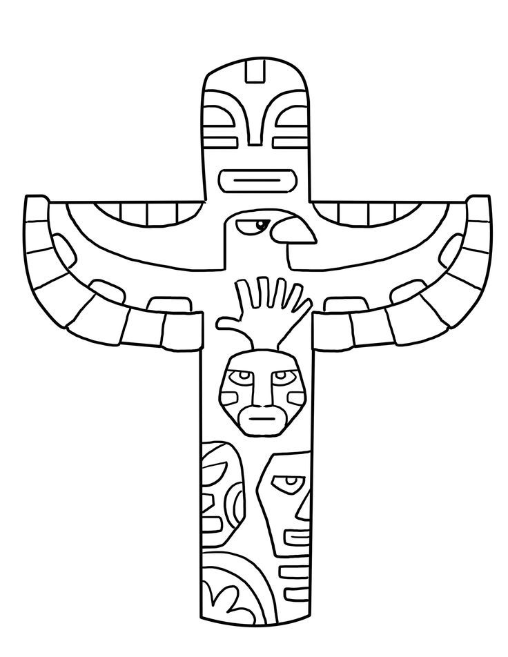 Totem Pole Coloring Page | fall kids | Pinterest