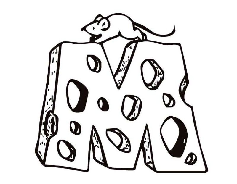 mouse cheese letter m coloring pages mouse cheese - Letter M Coloring Pages