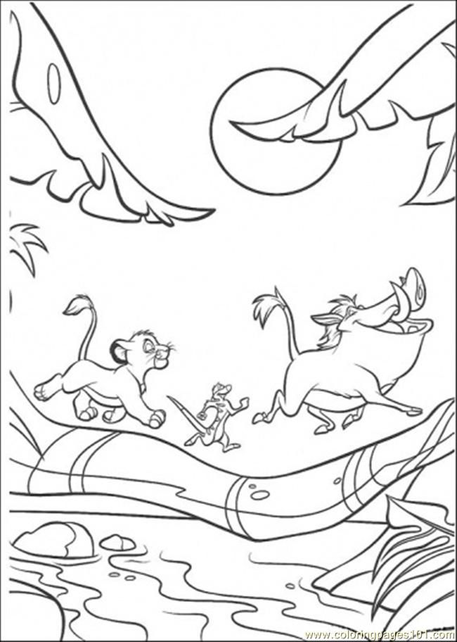 Coloring Pages Walking Under The Moon (Cartoons > The Lion King