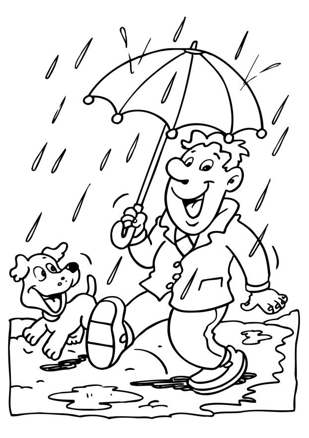 Rainy Day and The Dog Coloring Page Free : New Coloring Pages