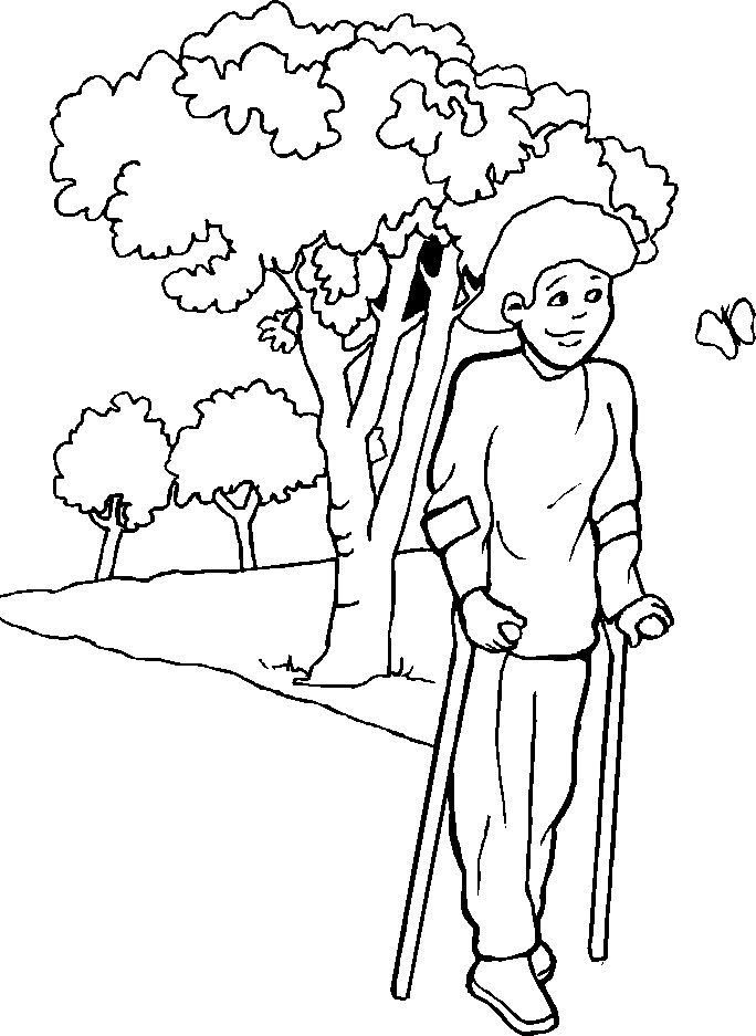 Pictures A Woman Crippled Walk Using Both The Wand Coloring Pages
