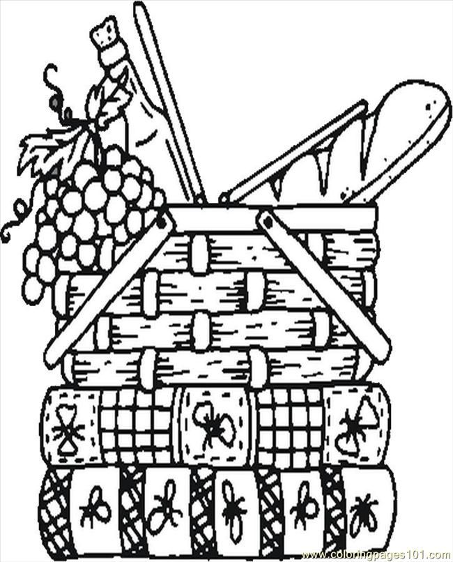 Basket Coloring Page Coloring Pages Picnic Basket