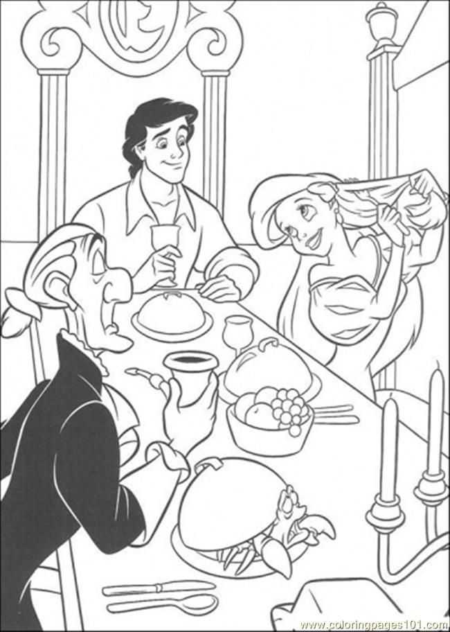 Coloring Pages Eric And Ariel Are Eating Together (Cartoons > The
