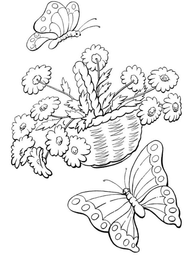 Welcome Spring Butterflies With Flowers Coloring Pages ...