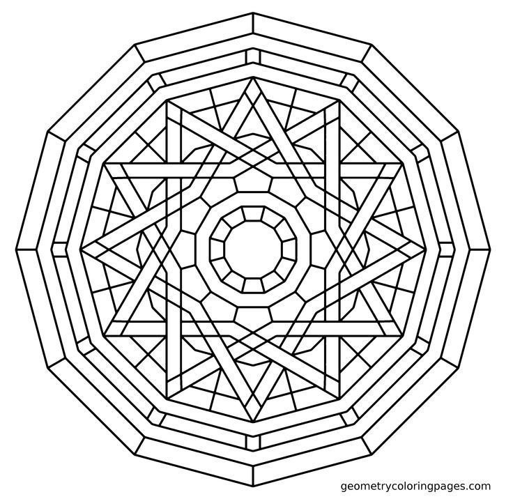Geometric mandala coloring pages coloring home for Geometric coloring pages online