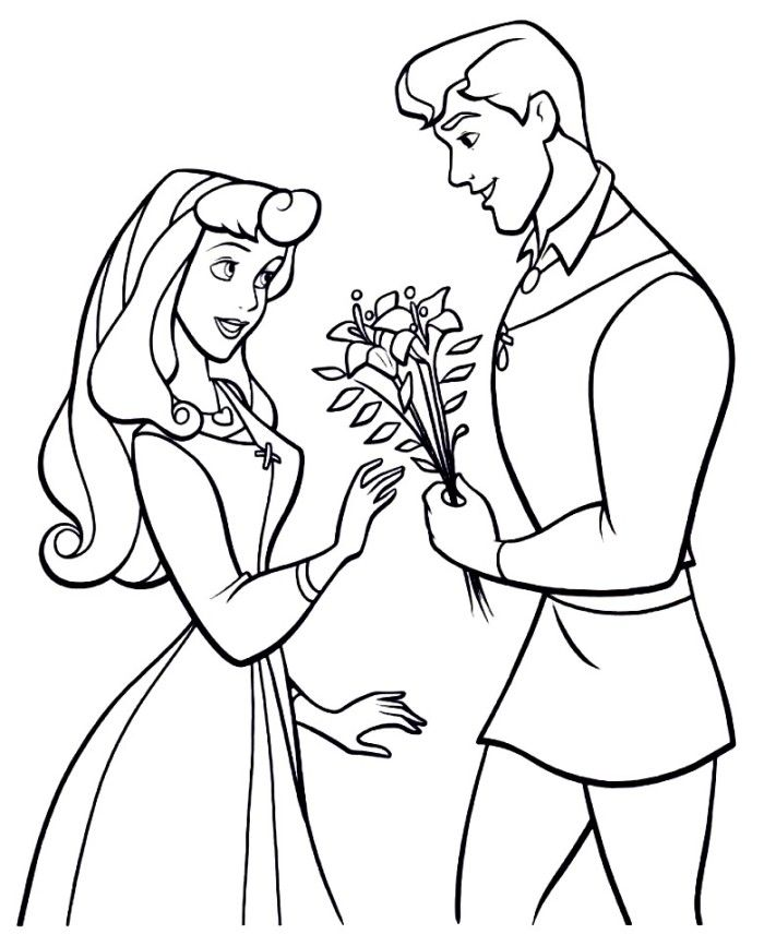 The Prince Giving Aurora Flowers Sleeping Beauty Coloring Page