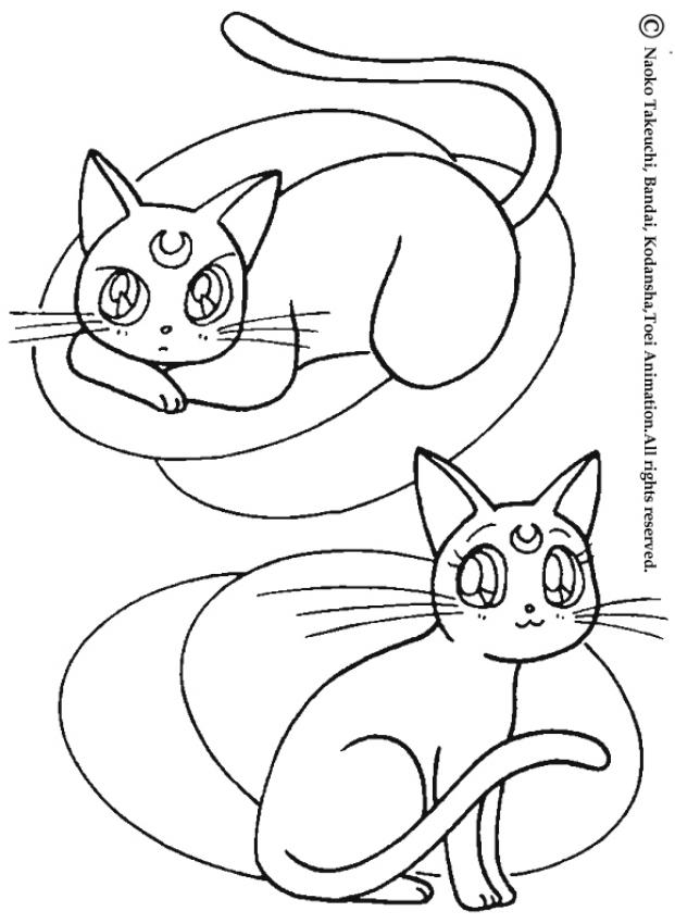 SAILOR MOON coloring pages - Cats: Artemis and diana