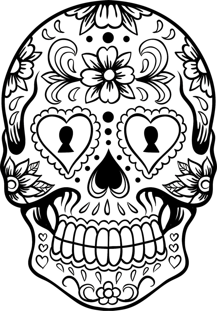 sugar candy skulls coloring pages - photo#1