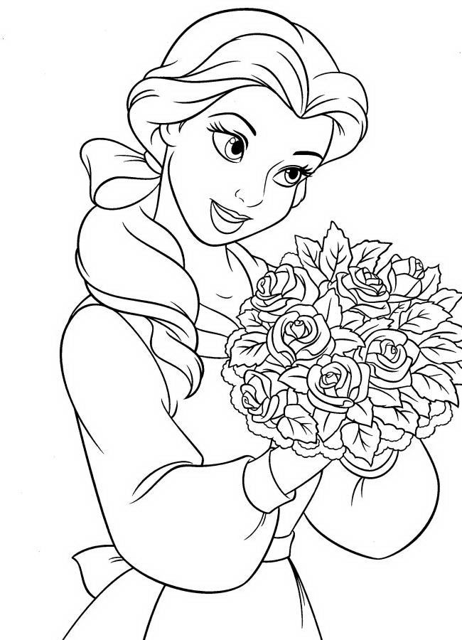 Nice Flower Colouring : Nice Princess Belle With Flowers Coloring Picture Disney AZ Coloring Pages