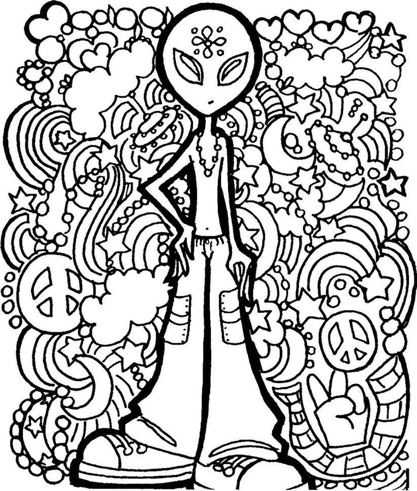 trippy mushroom coloring pages - photo#4